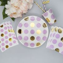 Pattern Works Lilac Dots Plates (8)